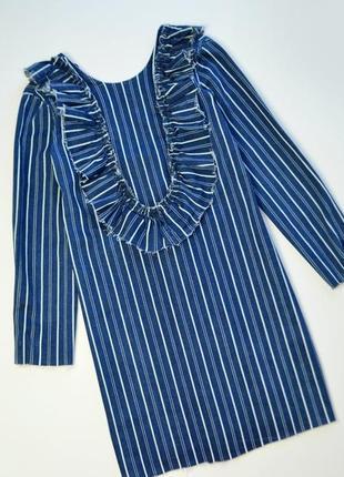 Джинсовое платье в полоску и с рюшами с длинным рукавом от zara