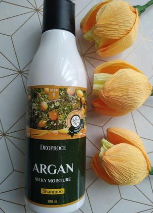 Аргановый шампунь для волос deoprose argan silky moisture sham...