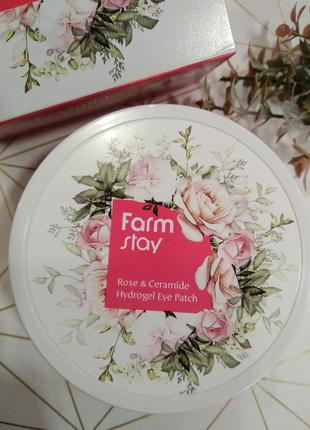 Патчи гидрогелевые с розой и керамидами farmstay rose & cerami...