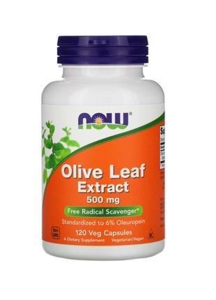 Экстракт из листьев оливы, 500 мг, Now Foods, 120 капсул