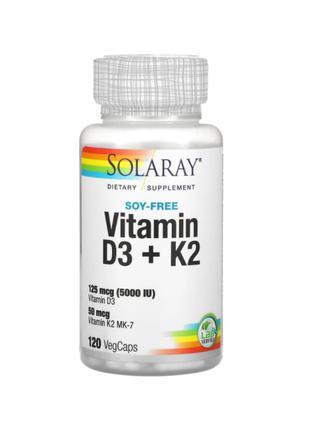 Витамин D3, D3 K2, D3 И K2, Д3 К2 (5000 МЕ), Solaray, 120 Капсул