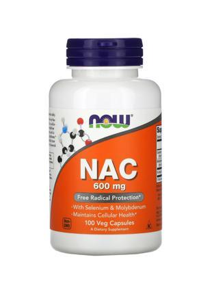 Now Foods, NAC (N-ацетилцистеин), 600 мг, 100 растительных капсул