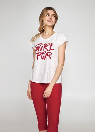 Комплект женской пижамы с надписью на футболке LNP 410/001