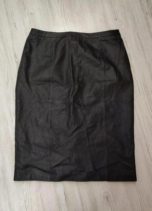 Ликвидация товара 🔥  черная юбка миди из натуральной кожи
