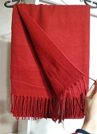 Теплый женский зимний шарф палантин 100% шерсть ламы красный