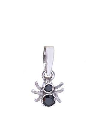 Подвес из серебра «паучок» с цирконием черный