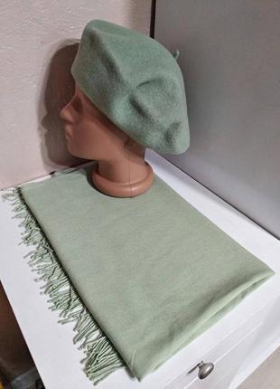 Комплект чешский фетровый берет tonak и шарф палантин зеленый