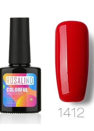 Гель лак 10 мл rosalind 1412 красный эмаль