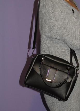 Стильная женская сумка хлоя черного цвета/кроссбоди