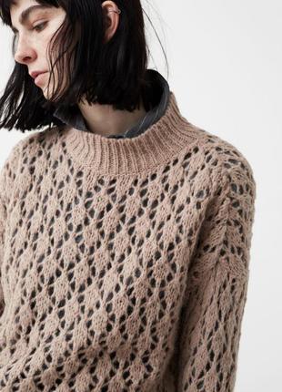 Свитер пуловер шерсть от mango! нежный цвет! ажур! размеры. но...