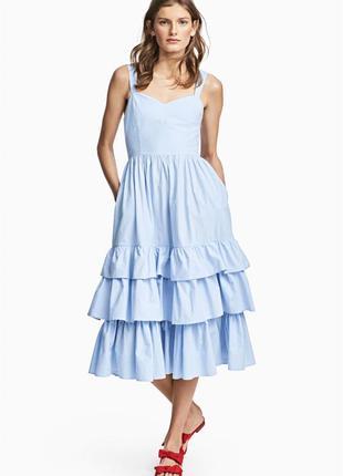 Платье небесно голубое платье- сарафан от h&m 100 проц хлопок!...