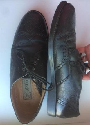 Мужские черные туфли с перфорацией