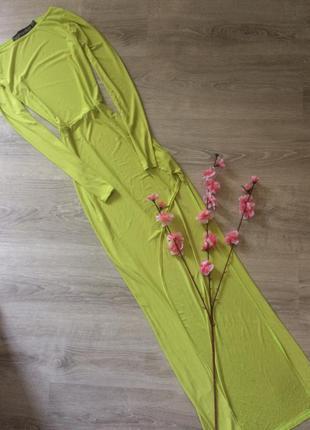 🎁1+1=3🎁🎁🎁 шикарное платье макси с открытой ногой boohoo