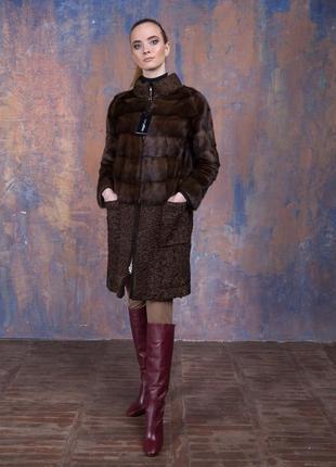 Пальто стильное пальто аукционный мех норки и персидская карак...