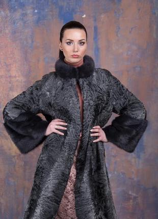 Шуба-пальто каракульча элита платина и аукционная норка ирис! ...