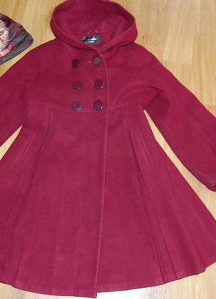 Пальто цвета марсала monika для девочки 9-11 лет