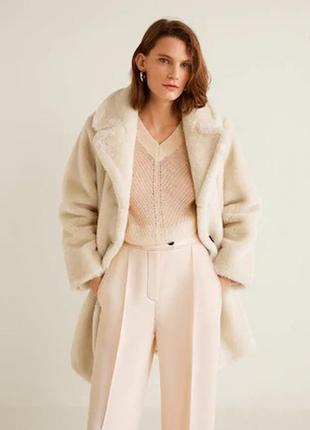 Пальто шуба от mango искусств. мутон. качество! размеры