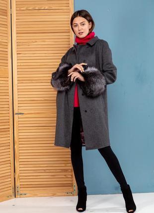 Шикарное стильное пальто шерсть манжеты натуральная чернобурка...
