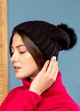 Шапка стильная шапка шерсть италия помпон натуральный мех песец