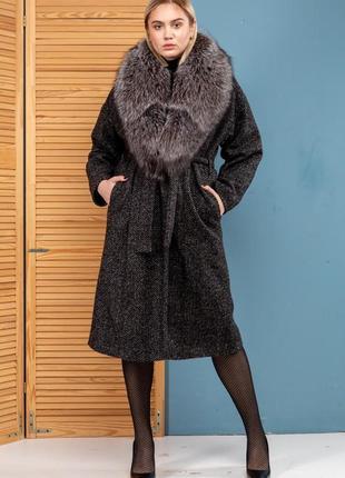 Шикарное пальто букле шерсть зима италия финская чернобурка но...