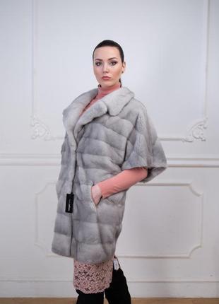 Норковая шуба манто кимоно сапфир велюр италия новая коллекция...