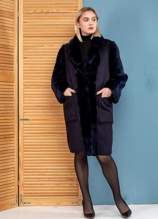 Пальто шерсть шикарный цвет с мехом шиншиллы эксклюзивная вещь...