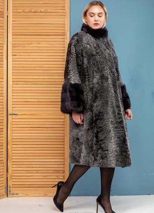 Шуба пальто норка каракульча swakara италия коллекция осень зи...