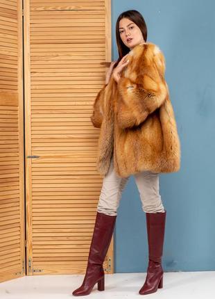 Шуба яркая стильная -шуба финская огненная лиса аукцион италия...