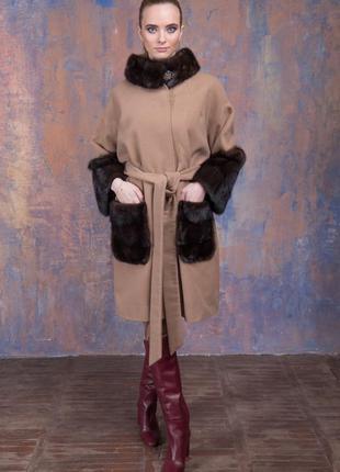 Пальто кашемир шерсть  манжеты карманы и воротник стойка из ау...