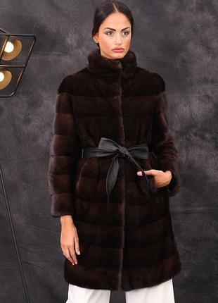 Норковое пальто, поперечного кроя, цвет махагон италия новая 4...
