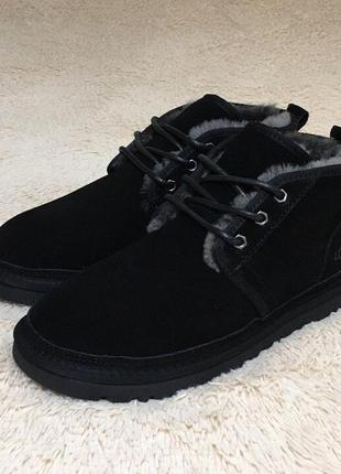 ✳️ugg neumel black black✳️зимние мужские угги, чёрные кожаные ...