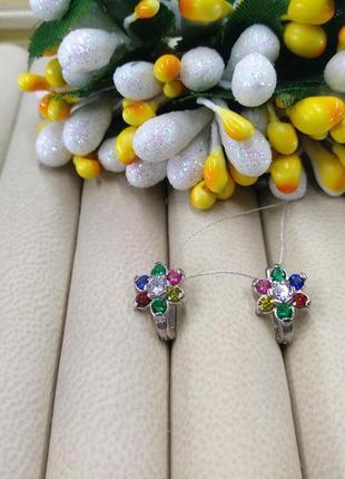 Серебряные серьги цветок с разноцветным фианитом 925 английска...