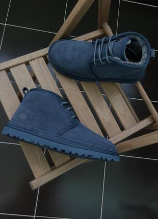 ✳️ugg neumel dark blue✳️мужские зимние угги, кожаные ботинки/у...