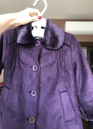 Фиолетовое пальто дубленка на девочку 5 лет