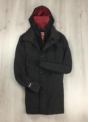 F9 пальто темно-серое темное теплое шерстяное с капюшоном supe...