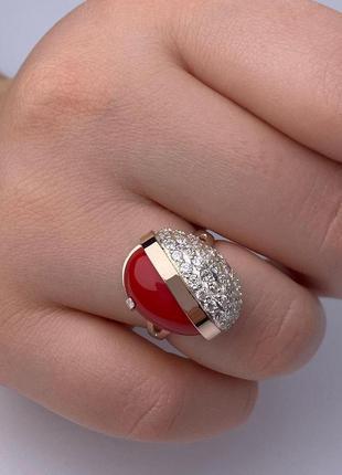 Серебряное кольцо с кораллом и золотой пластиной, 925, серебро