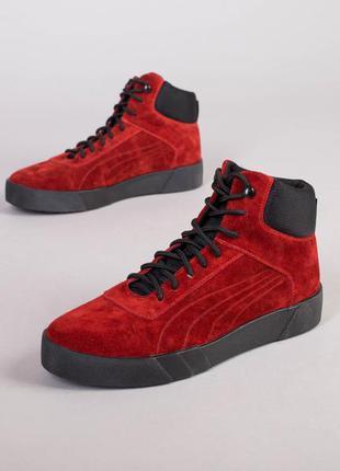 Ботинки мужские замшевые красные зимние
