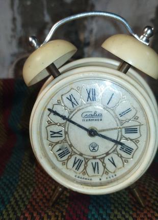 Часы настольные будильник Slava Слава