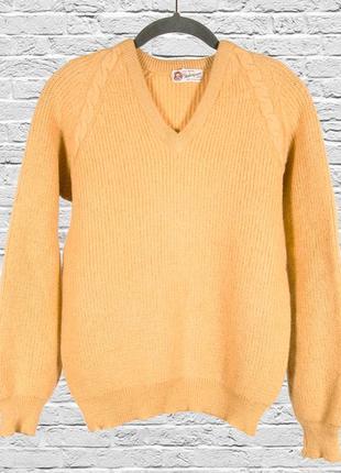 Шерстяной свитер горчичный, женский свитер базовый, шерстяной ...