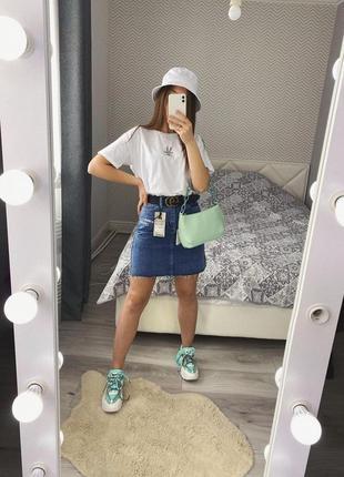 Новая синяя джинсовая мини юбка