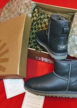 Ugg classic mini metallic grey, угги женские, серые кожаные, з...