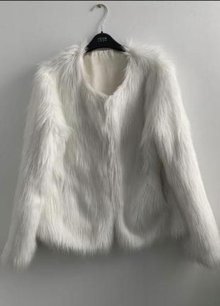 Белая искусственная шуба мех длинный куртка весенняя молочная