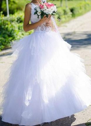 Супер красивенное свадебное платье + подарок кольца для платья