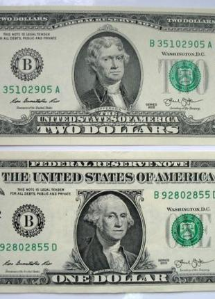 Банкноти 1 долар і 2 долара США one dollar two dollars USA