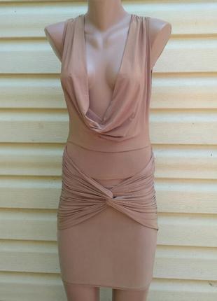 Нюдовое платье rebecca stella