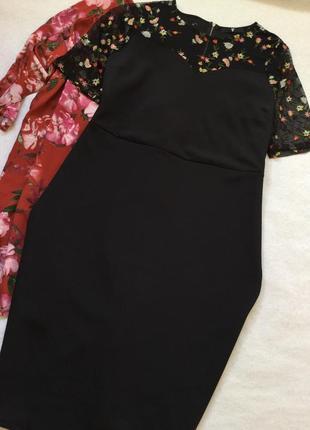 Платье миди по фигуре с вышивкой на сетке by very размер 24