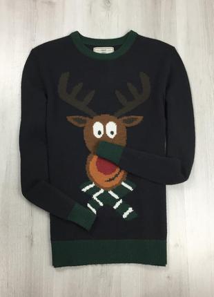 F7 свитер next темно-зеленый праздничный рождественский нового...