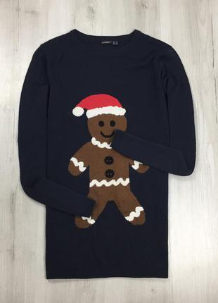 F7 свитер livergy темно-синий печенюхой печенькой  праздничный...