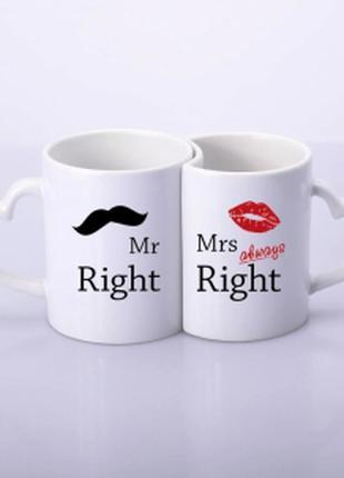 Парные чашки для влюбленных в виде сердца mr&mrs always right
