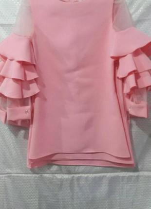 Нарядное платье , габардин сетка, ярко-розового цвет, р. 10-12...